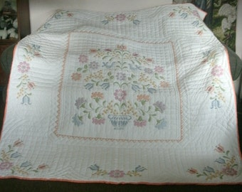 Hand made cross stitch quilt, full size, hand quilted