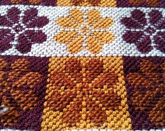 Hand woven brown and mustard vintage folk ethnic wallcarpet