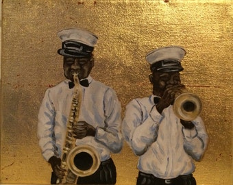 Gold leaf canvas with second line musicians