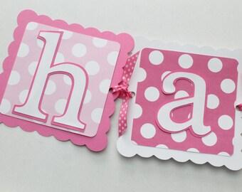 Pink Happy Birthday Banner - Polka Dot Banner - Chevron Banner - Girls Birthday - First Birthday - Pink and White Birthday Banner