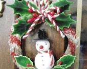 Spun Cotton Snowman on Candy Cane dyed Chenille  wreath, Vintage inspired Christmas Ornament, Lacquered Holly Leaves, Millinery Stamens