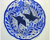 Original Acrylic on Watercolor Paper Painting by Victoria Gobel - Talavera Plate - Two Blue Birds