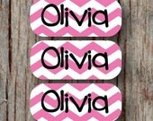 140 Custom Daycare Name Labels Waterproof Personalized Dishwasher Safe Baby Bottle Name Labels Sippy Cup Pacifier Pink Chevron Girl - 007