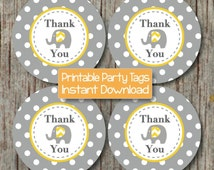 INSTANT DOWNLOAD Printable Thank You Tags Baby Shower Birthday Party Elephant Yellow Grey Favor Labels diy Tags Baby Girl Boy PDF File - 058