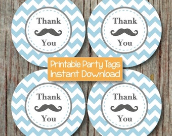 Mustache Bash Thank You Favor Tags INSTANT DOWNLOAD Mustache Baby Shower Birthday Party Printable DIY Boy Powder Blue Grey Little Man - 038