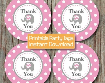 Printable Gum Pink Grey Elephant Thank You Favor Tags Birthday Party Baby Shower diy Gift Bag Thank You Tags INSTANT DOWNLOAD PDF File - 092