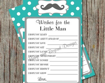 Printable Little Man Wishes For Baby Mustache Baby Shower Instant Download Aqua Grey PDF diy Baby Advice Cards Party Games - 059