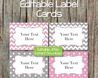 Name Tags Editable Label Cards Digital JPG File Printable Digital Collage Sheet Gum Pink Grey INSTANT DOWNLOAD Baby Shower Party 004