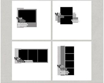 Minimal'ish - 1, 2, 3, 4 - 12x12 Digital Scrapbooking Templates