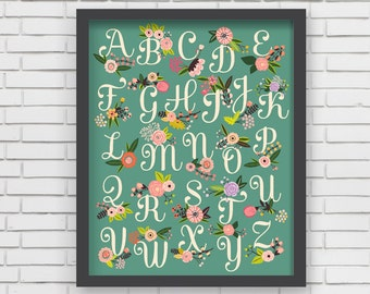Home Decor Nursery Wall Art - Floral Alphabet Print (green) - 16x20