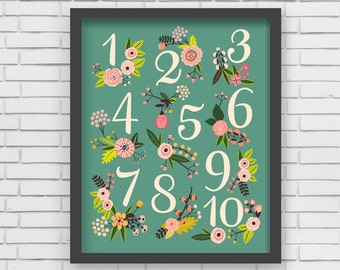 Home Decor Nursery Wall Art - Floral Numbers Print (green) - 8x10 or 11x14