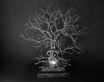 Roots, Table light.Handmade Table Light made of pewter wires.