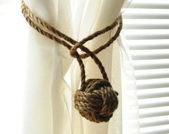2 Manila Rope Curtain Tie Backs