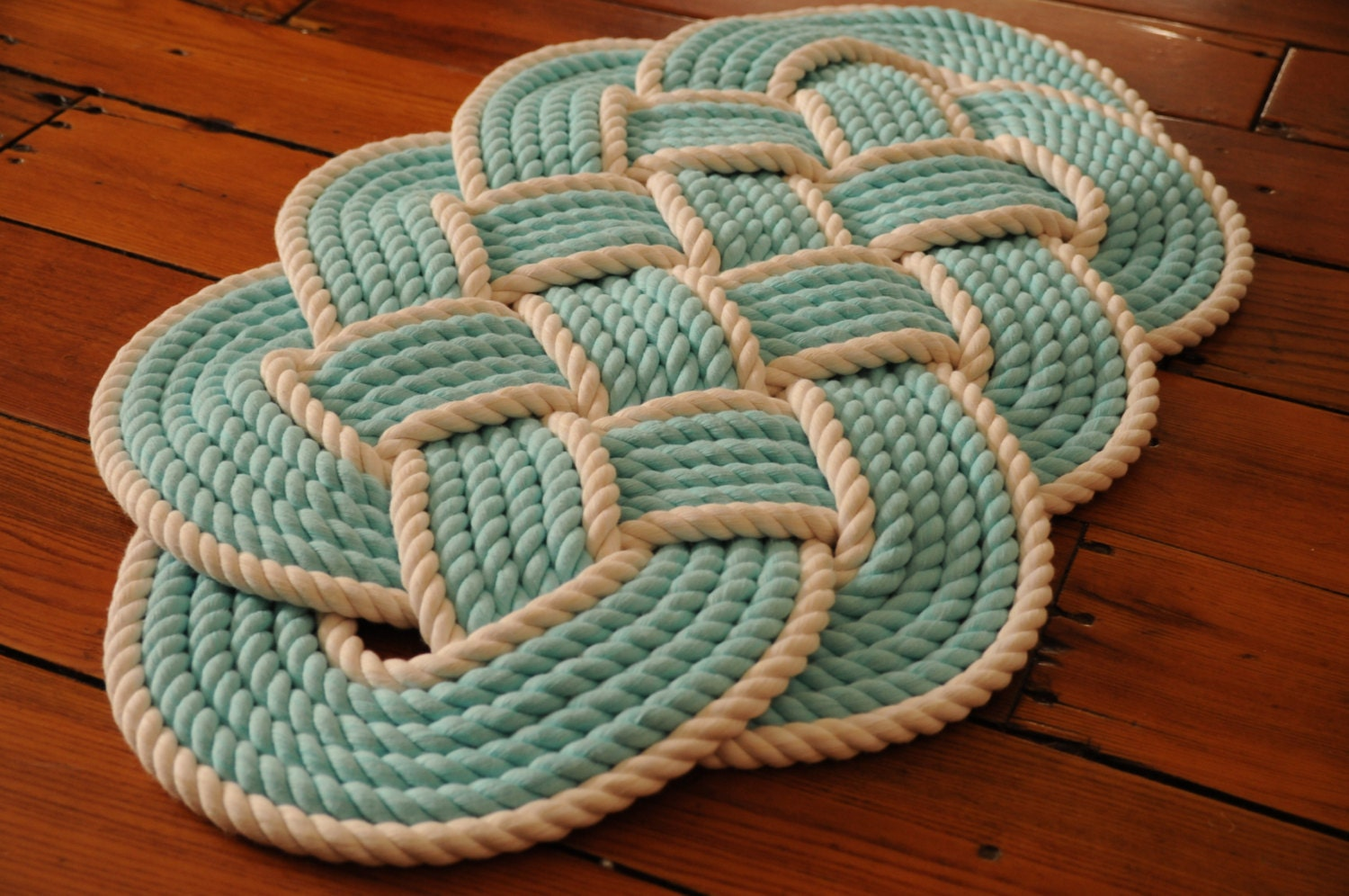 Aqua and white cotton bath mat rope rug nautical decor for Rope bath mat