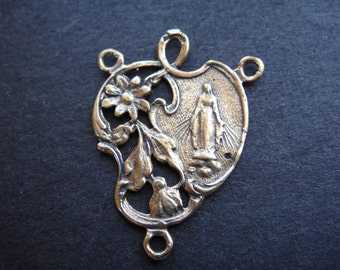 solid bronze rosary finding, rosary connector, bronze rosary connector, bronze virgin mary