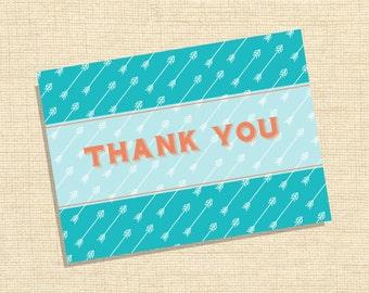 Blue and Orange Thank you Card :)