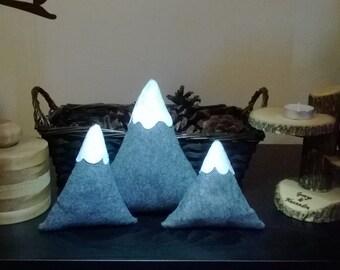 Set of 3 Felt Snow Cap Mountain Decorative Pillows