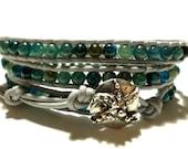 "RESERVED, Apatite Wrap Bracelet and Sterling Silver Artisan Starfsh Button, Size 6"" Blue Wrap Bracelet - Beach Jewelry"