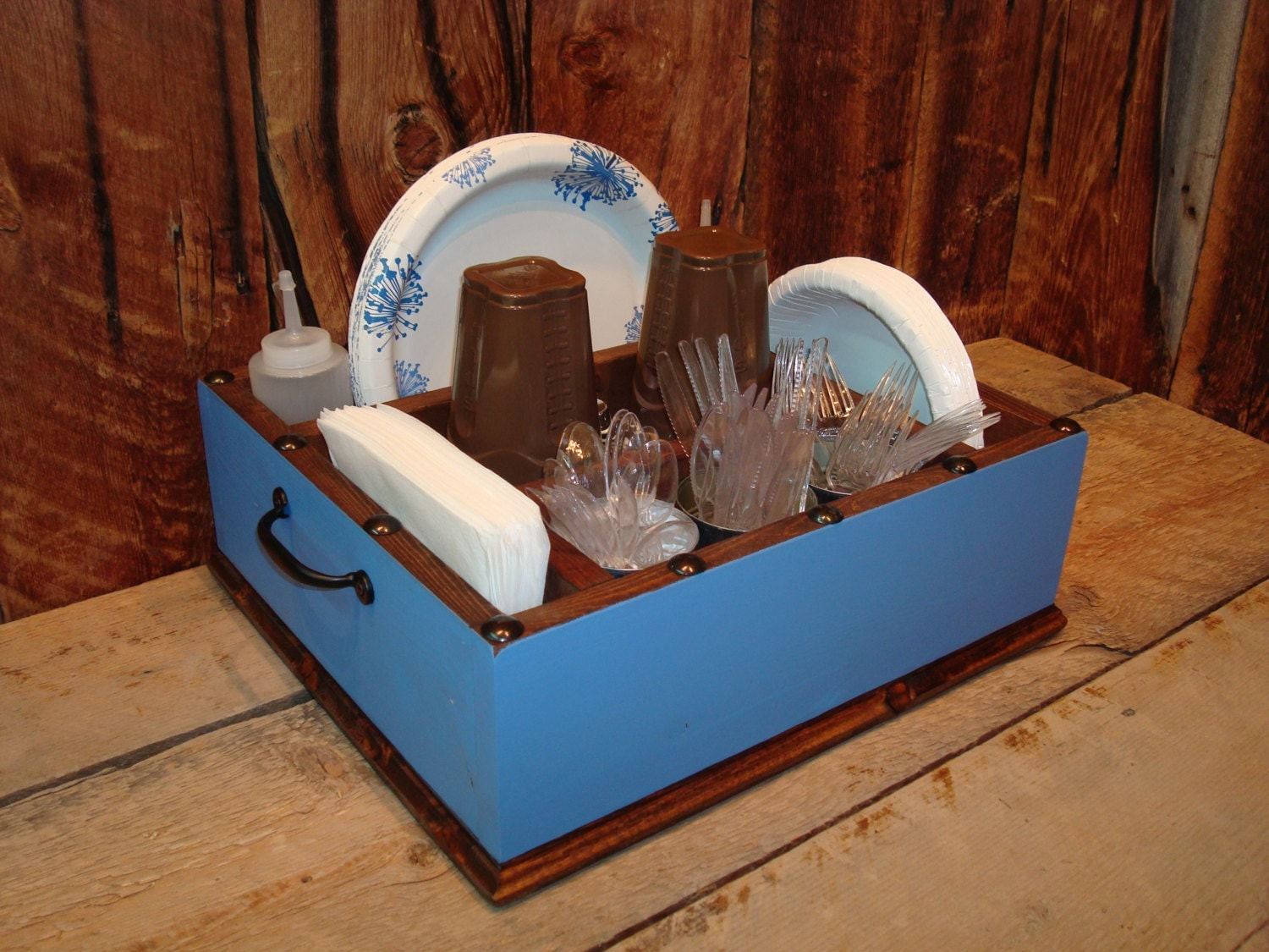 Light blue utensil tableware caddy organizer for your napkins for Table utensils
