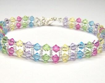 Rainbow stripe swarovski beaded bracelet - swarovski bracelet - bicone bracelet - candy stripe - summer bracelet - rainbow bracelet