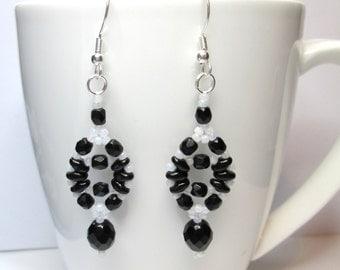 Black and white earrings, czech glass earrings, black and white, superduo earrings, super duo, beadwork earrings, beadwoven earrings ER005