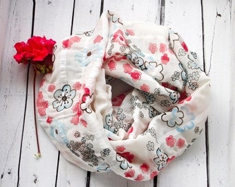 Boho Floral Scarf, Spring Circle Scarf, Printed Gauze Scarf, Infinity Scarf, Chiffon Loop Scarf, Wrinkled Scarf, Women Gift, Christmas Gift