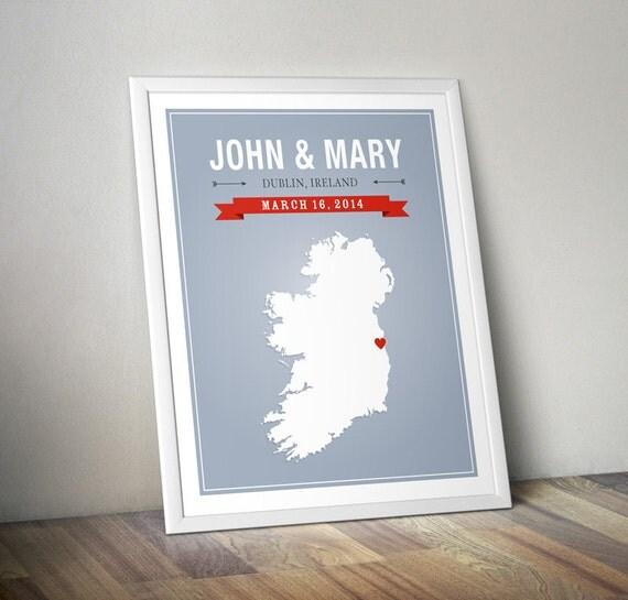Engraved Wedding Gifts Ireland : Personalized Ireland Wedding GiftCustom Map Ireland Art Print ...