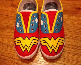 wonder woman hand painted shoes