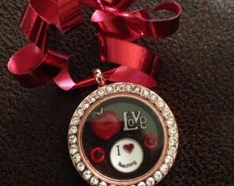 Teacher Christmas ornament joy of shopping Locket