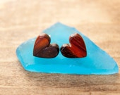 Handcrafted Exotic Cocobolo Heart Shape Wooden Stud Earrings 3\8th Inch