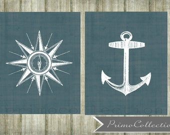 Nursery Wall Art Prints Nautical Theme Set Of Two 8x10 Inch Navy Blue