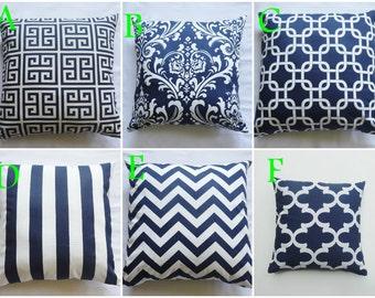 "Navy Blue Gotcha, Floral, stripe Zigzag, Chevron 18x18"" inch Home Accent Pillow Cover / Pillow Case"