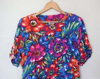vintage slouchy bright floral crop top womens *