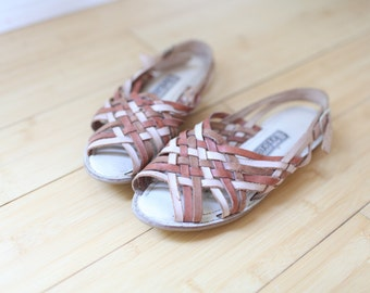 vintage woven brown leather hurache sandals womens 6 1/2 *