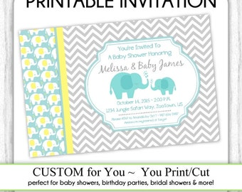 Mod Elephant Invitation, Mod Elephant Baby Shower Invitation, Elephant Invite, Digital Design - CUSTOM for You - 4x6 or 5x7 size - YOU print