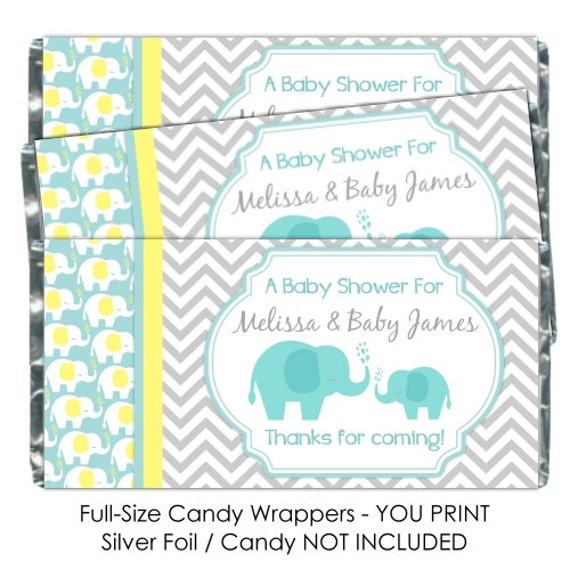 Printable candy wrappers mod elephant baby shower candy for Candy bar wrappers template for baby shower printable free