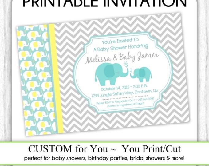 Mod Elephant Invitation, Mod Elephant Baby Shower Invitation, Elephant Invite, Digital Design - CUSTOM for You - 4x6 or 5x7 size - YOU print