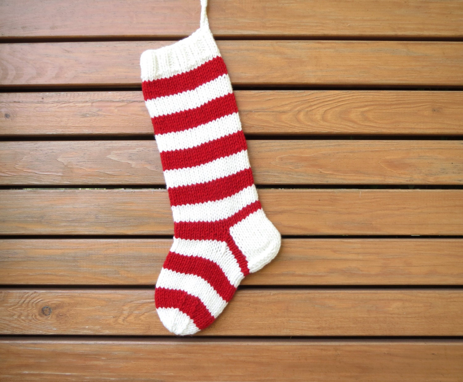 Hand knit Striped Christmas Stocking Red and White
