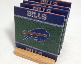 "HANDMADE ""Buffalo Bills"" Drink Coasters | Set of FOUR | The Coaster Attic"
