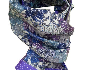 Scarf liberty Mauvey purple and purple with white dots