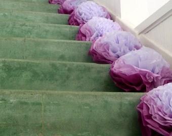 Wedding Ceremony Decoration / Wedding Aisle Runner / 10 Medium Tissue Poms / Shabby Chic Wedding / Rustic Wedding