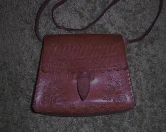 Tooled boho  leather handbag