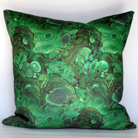 Decorative Pillows With Green : Malachite Decorative Pillow Cover Emerald Green by StuckOnHue