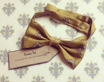 silk bow tie, mens bow tie, olive green bow tie, mens silk bow tie, wedding bow tie