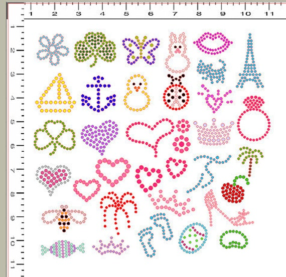 sticky flock pre cut templates - diy kit precut sticky flock hotfix rhinestone by blingblondie