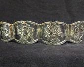 Vintage Mexican silver panel bracelet / Mexico sterling bracelet / vintage jewelry