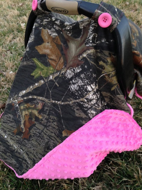 Items Similar To Mossy Oak Camo Car Seat Canopy With Pink Minky Back On Etsy