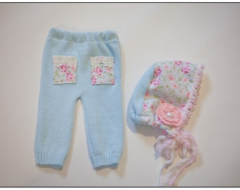 Newborn Baby Girl Upcycled Pants and Bonnet Photography Prop Shabby Chic