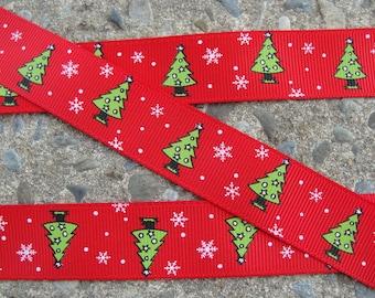 "7/8"" Christmas Tree Ribbon 3 yards Grosgrain Ribbon Hair Bow Ribbon Christmas Ribbon Winter ribbon Holiday Ribbon"