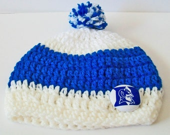 Blue and White Duke Inspired Crocheted Baby and Childrens Pom Pom Hat Great Photo Prop 5 Sizes Available